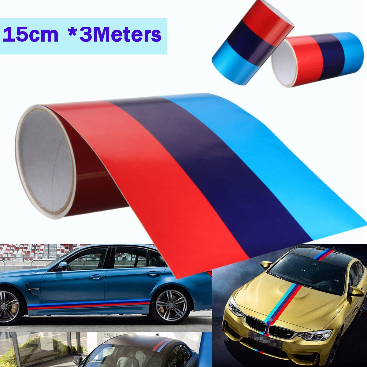 3 Meters M-Colored Stripe Car Hood Roof Sticker Vinyl Decal For BMW M M3 M5 M6 3/5/7 Series цена