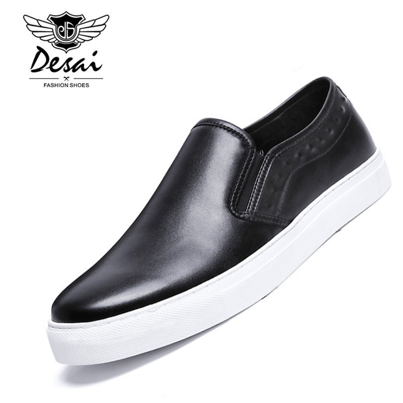Desai Brand Top Quality Full Grain Leather Men Loafers Solid Color Classic Style Flat Driving Shoes Size 38-43 desai brand italian style full grain leather crocodile design men loafers comfortable slip on moccasin driving shoes size 38 43