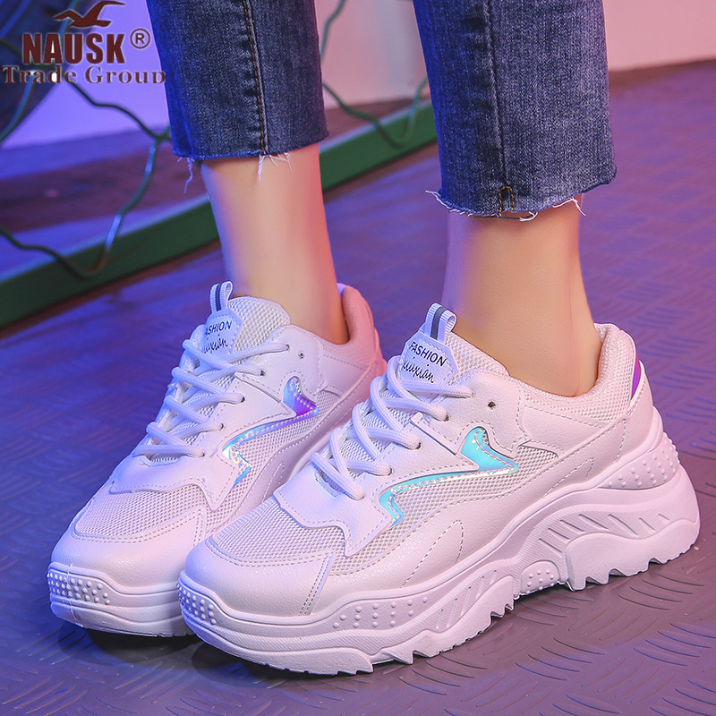 NAUSK Chunky Sneakers Platform-Shoes Female Trainers Womens Fashion Lace-Up