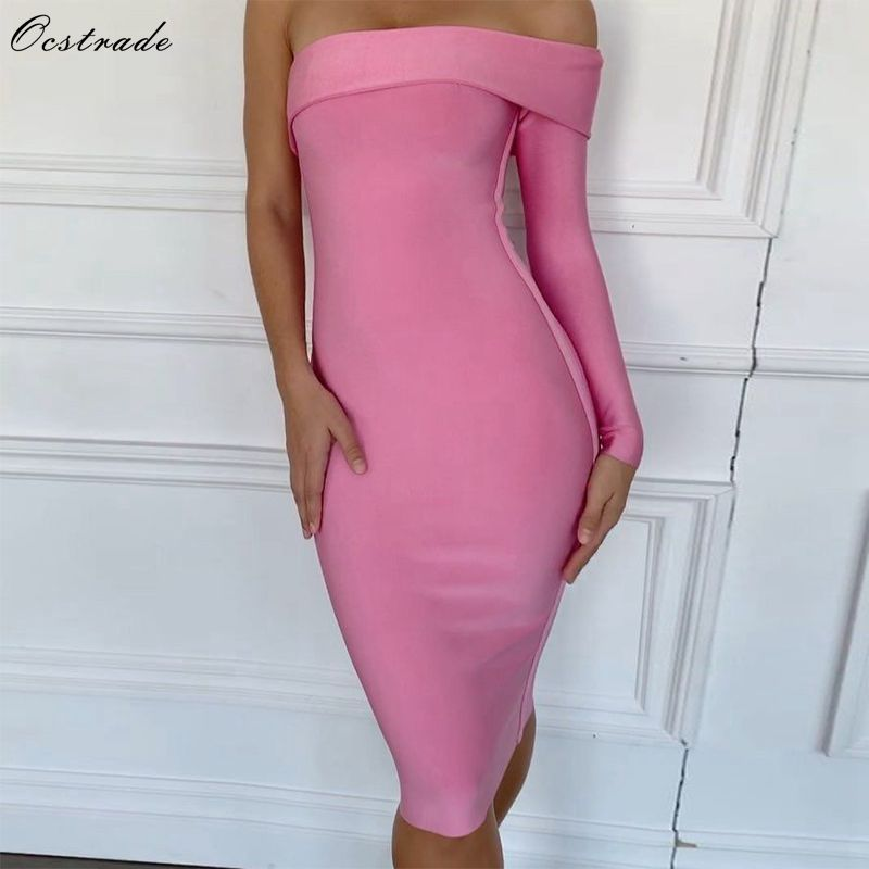Ocstrade New Arrival 2019 Sexy One Shoulder Bodycon Dress Women One Sleeve Cut Bandage Dress Pink