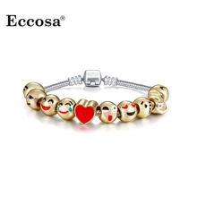 Фотография New Cute Smile Face Love Heart Beads Charms Bracelets & Bangles Fit Snake Chain Pandora Bracelet Handmade DIY Jewelry Making