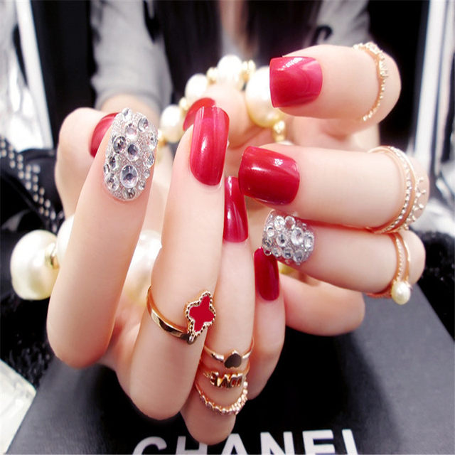 Online Shop 24pcs Red 3d Diamond Short Fake Nails Art Tips Acrylic