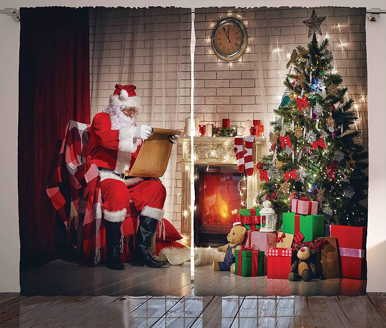Santa Curtains Old Santa Claus Sitting at Home at Christmas Night Reading a Letter Near The