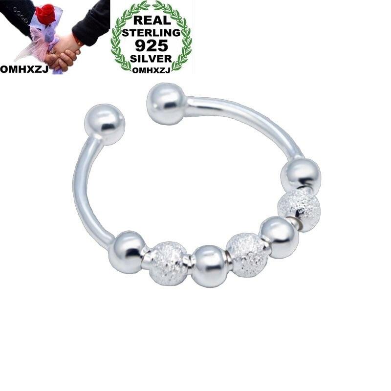 OMHXZJ Wholesale European Fashion Woman Man Party Wedding Gift Silver Beads Open 925 Sterling Silver Ring RR266