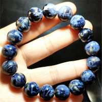 12mm Genuine Natuarl Blue Pietersite Gemstone Crystal Round Bead Stretch Bracelet AAAA