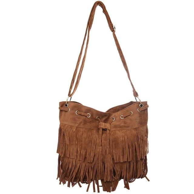 2b7e07f166 Hot Sale Faux Suede Fringe Tassel Shoulder Bag Women Drawstring Messenger  Bag Soft PU Leather Handbag Vintage Casual Bag Bolsas