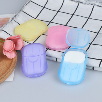 1 Box Portable Washing Hand Wipes Bath Travel Scented Slice Sheets Foaming Box Paper Soap Blue/Pink/Purple/Yellow