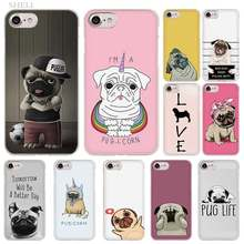 PlusPug Cão moda do Caso da Tampa transparente para o iphone XI R 2019 Max XR XS X 4S 5S SE 6 6s 7 8 Plus(China)