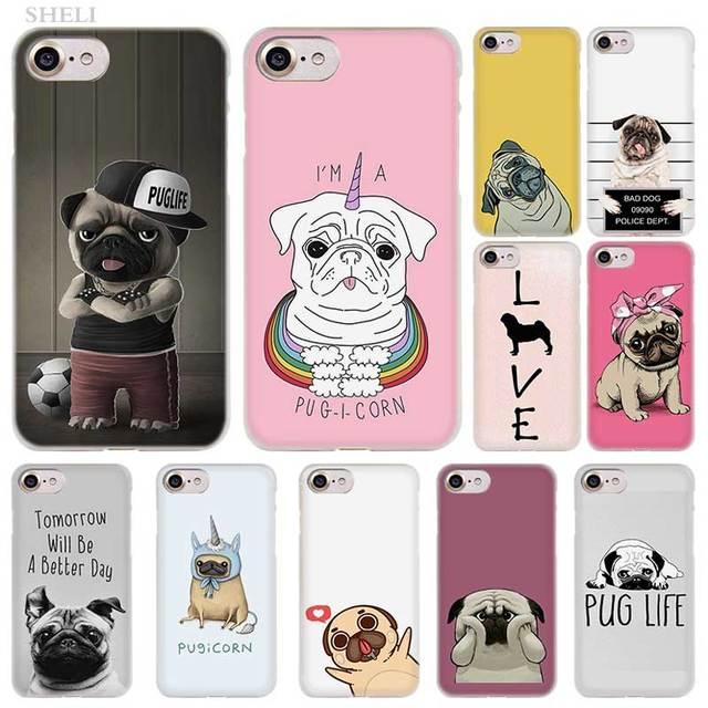 SHELI Pug Dog Thời Trang trong suốt Trường Hợp Bìa cho iPhone XS Max XR X 4 4 s 5c 5 s SE 6 6 s 7 8 Cộng Với