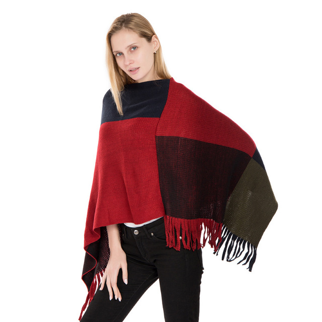Tcyeek Winter Warme Quaste Pullover Poncho Frauen Strick Batwing Cape Cloke Alle Spiel Plaid Pull Femme Jumper Herbst Ponchos LW890