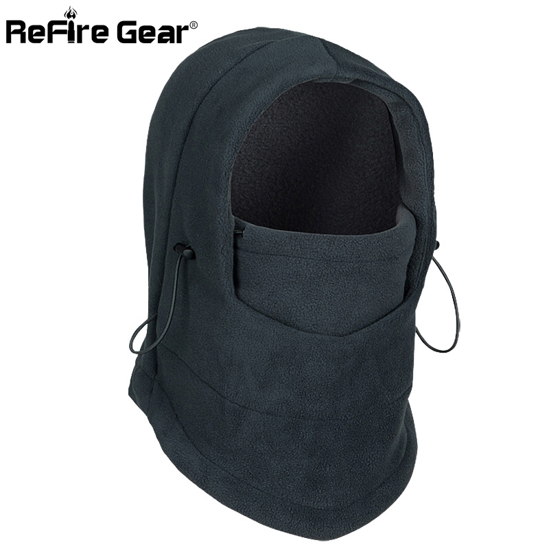Winter Warm Tactical Fleece Balaclava Hat Neckwear Men Thermal Polar Face Mask Collar Head Skullies Windproof Motorcycle Beanies
