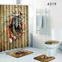 HomeMiYN 2018 Bath Mat Dinosaur Breaking The Wall 4 Pcs Bathroom Set Bath Mat Rug Anti Slip Shower Curtain Waterproof 12 Hooks