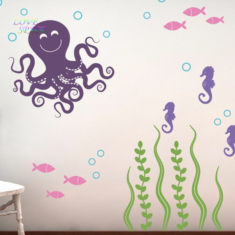 Sea ocean friends octopus seahorses seaweed fish vinyl nursery sea ocean friends octopus seahorses seaweed fish vinyl nursery wall decals children wall stickers wall sticker for kids rooms in wall stickers from home amipublicfo Images