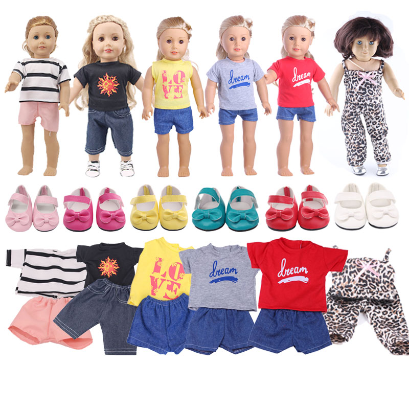 Doll Clothes 6 Styles 2 Pcs Short Sleeve+Pants For 18 Inch American Doll & 43 Cm Baby Doll For Generation Girl`s Toy Accessories