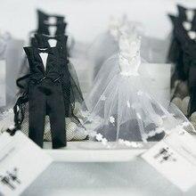 12 шт., сумки из органзы с кулиской для конфет, смокинги и платья, свадебные подарочные сумки для свадебной вечеринки