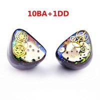 Newest Wooeasy 10BA With 1 DD In Ear Earphone Colorful Gear Custom Made Hybrid Around Ear