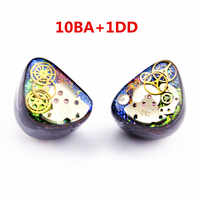 Newest Wooeasy 10BA With 1 DD in Ear Earphone Colorful Gear Custom Made Hybrid Around Ear Earphone With MMCX Plated Earphone