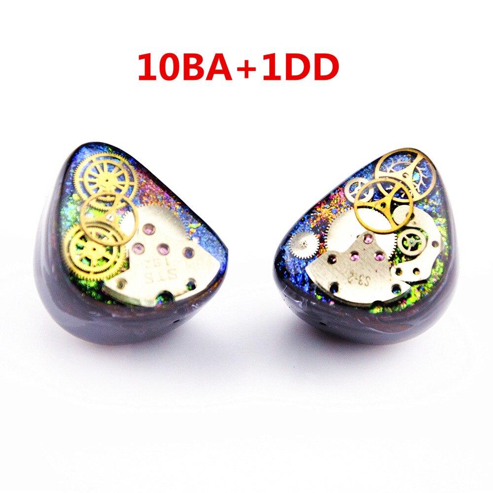 Più nuovo Wooeasy 10BA Con 1 DD in Trasduttore Auricolare Dell'orecchio Colorful Gear Custom Made Hybrid Intorno Ear Auricolare Con MMCX Placcato auricolare