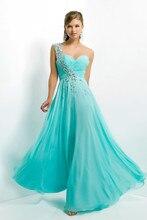 Abend Formale Kleid A-line Strap Lang Blau Chiffon Ballkleider Mit Perlen Benutzerdefinierte Größe