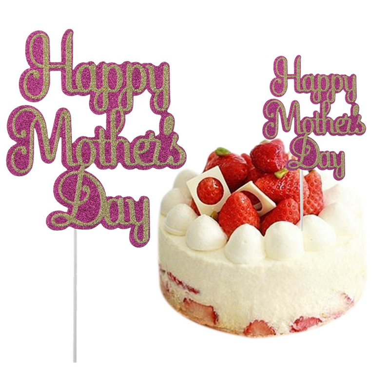 Cake Topper for Mom Mother`s Birthday Cupcake Picks Sticks Happy Mother`s Day Celebration Party Supplier Top