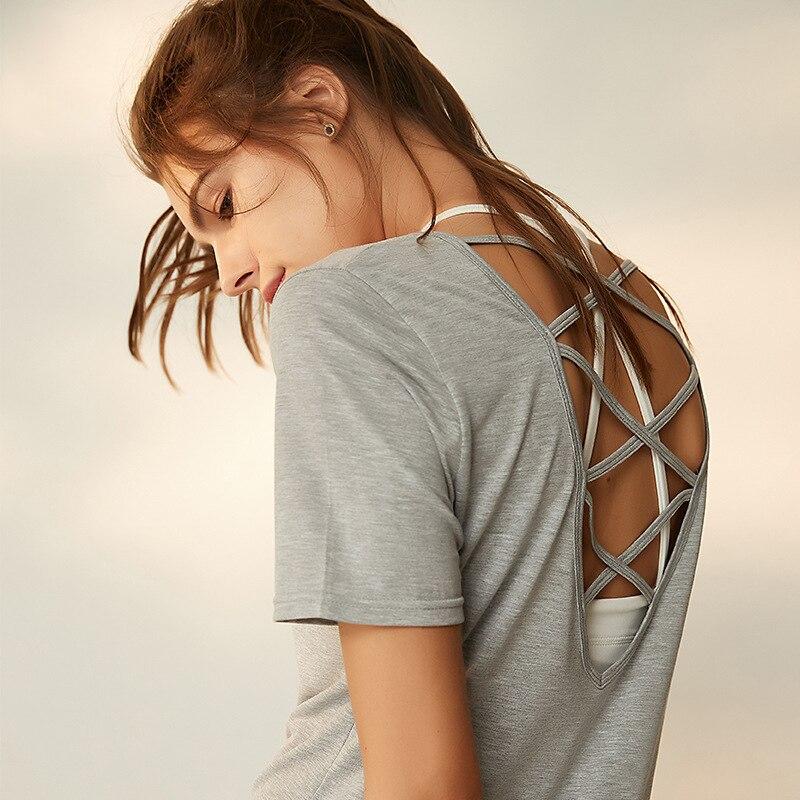 Mujeres backless Deporte Fitness chaleco manga corta Yoga superior Correr  entrenamiento Yoga camiseta camisa Mujer 870b1dfdeded
