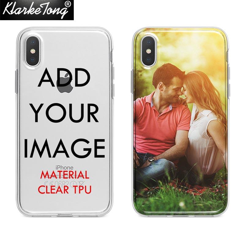 Custom Design DIY Transparente Tampa Da Caixa Do Silicone Para o iphone XS MAX XR 6 6 s 7 8 plus 5S Personalizado impressão Caso de Telefone Celular