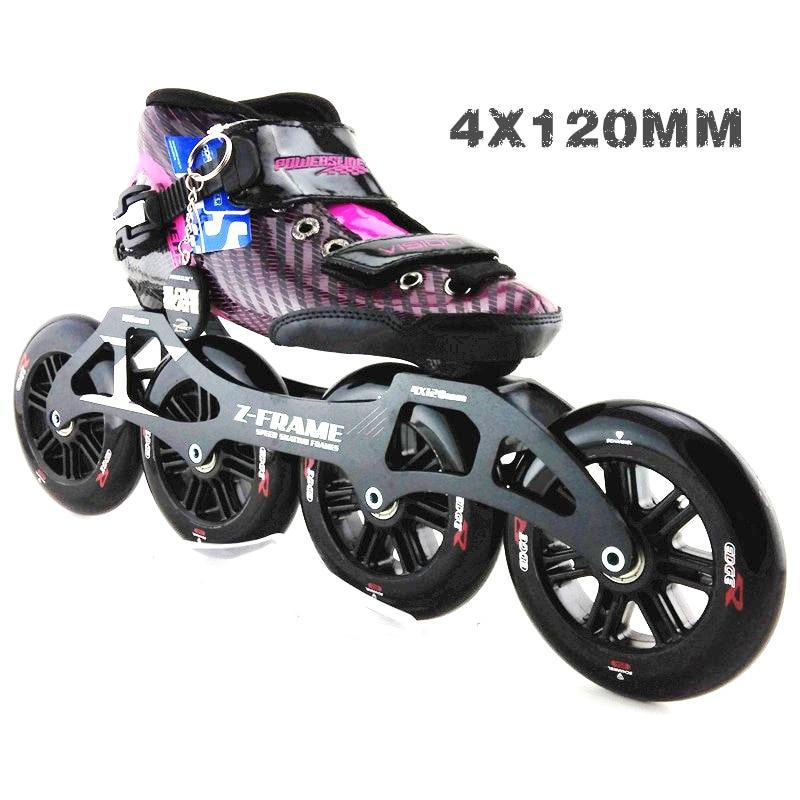 PS racing chaussures de patinage de vitesse professionnel adulte enfant patins à roulettes avec grandes roues 4*120mm roues de patins de vitesse en ligne