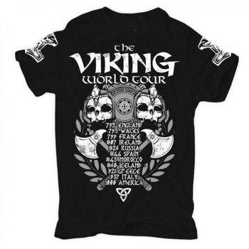 Viking World Tour T shirt Men Viking Warriors Odin 100% cotton casual gift tee USA Size  1