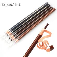 цена 12PC Microblading Eyebrow Tattoo Pen Waterproof Permanent Makeup Eye brow Pencil Positioning Lip Eyebrow cejas maquillaje онлайн в 2017 году