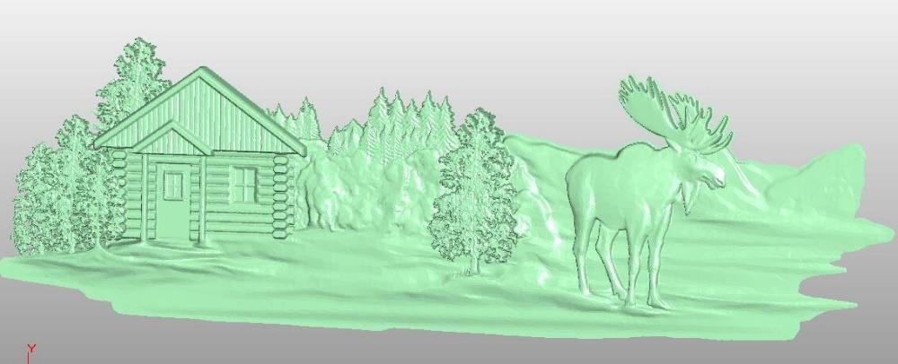 3 pieces deer 3D model relief STL model for CNC Router