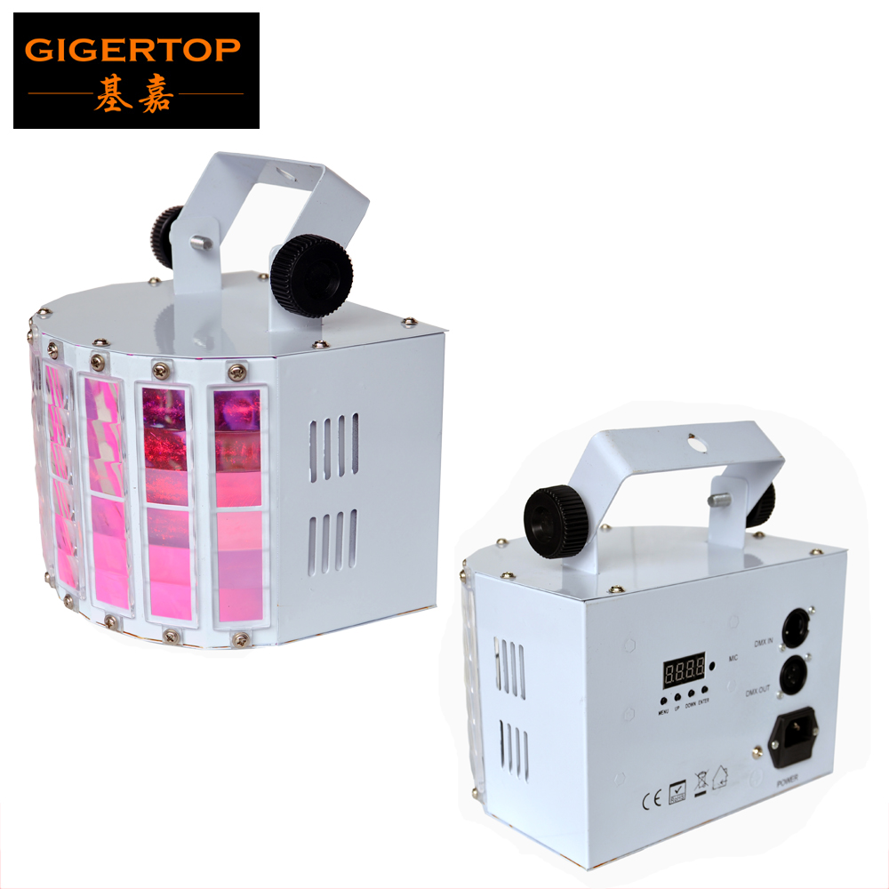 TIPTOP New Led Butterfly Stage Effect Light 30W RGBWA UV Rotating Electrical Motor 6x3W 6 Color Lamp DMX 6 Channels White Shell tiptop new led colony stage effect