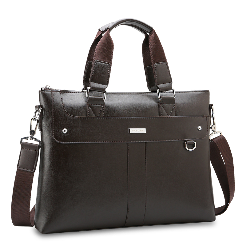 Waterproof Leather Laptop Briefcase bag With Secret Compartment For Business