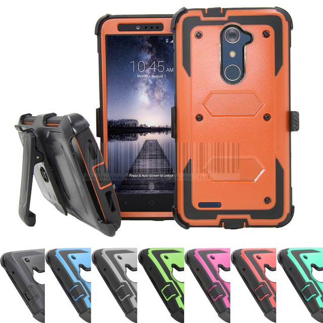 Heavy Duty Shockproof Armor Hybrid Hard Case Stand Protective Cover+Holster With Belt Clip For ZTE Kirk Z988/lmperial Max Z963U