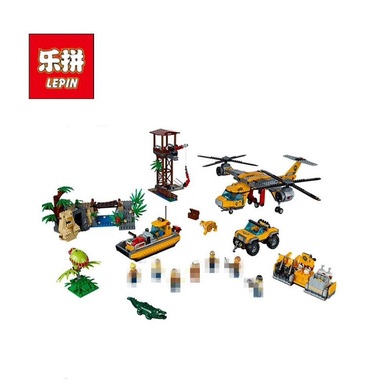 DHL LEPIN 02085 City Series The Jungle Air Drop Helicopter Compatible 60162 Building Blocks Children Educational Bricks Toys Kid lepin 02004 356pcs city series volcanic expedition transport helicopter model building blocks bricks toys for children gift