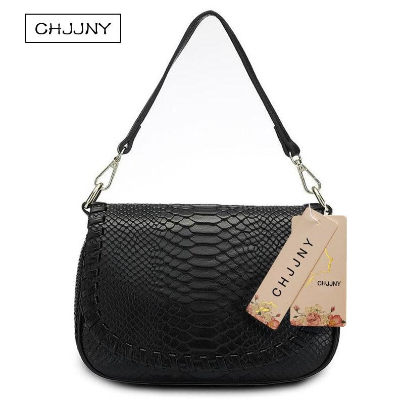 ФОТО CHJJNY 2017 newest fashion style serpentine women genuine leather crossbody bag messenger bags