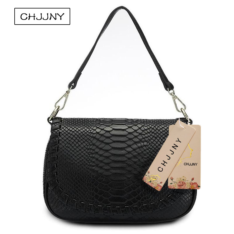 CHJJNY 2017 newest fashion style serpentine women genuine leather crossbody bag messenger strap belt bags large wallet