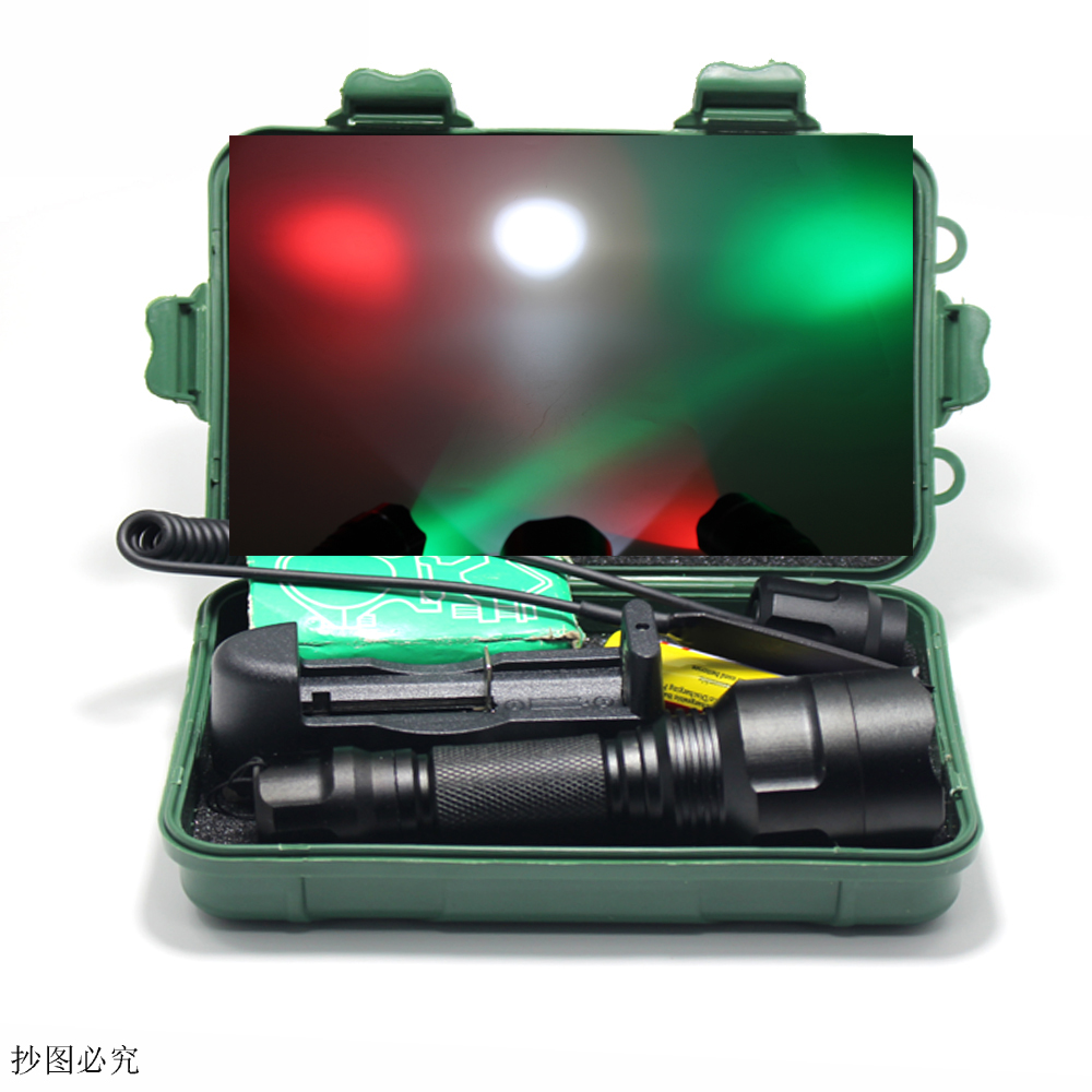 C8 tactical flashlight Red / Green / White light XML T6 Q5  LED 1000LM 1 Mode/5 Mode Tactical Flash Light Light Remote Switch колонка interstep sbs 150 funny bunny light green