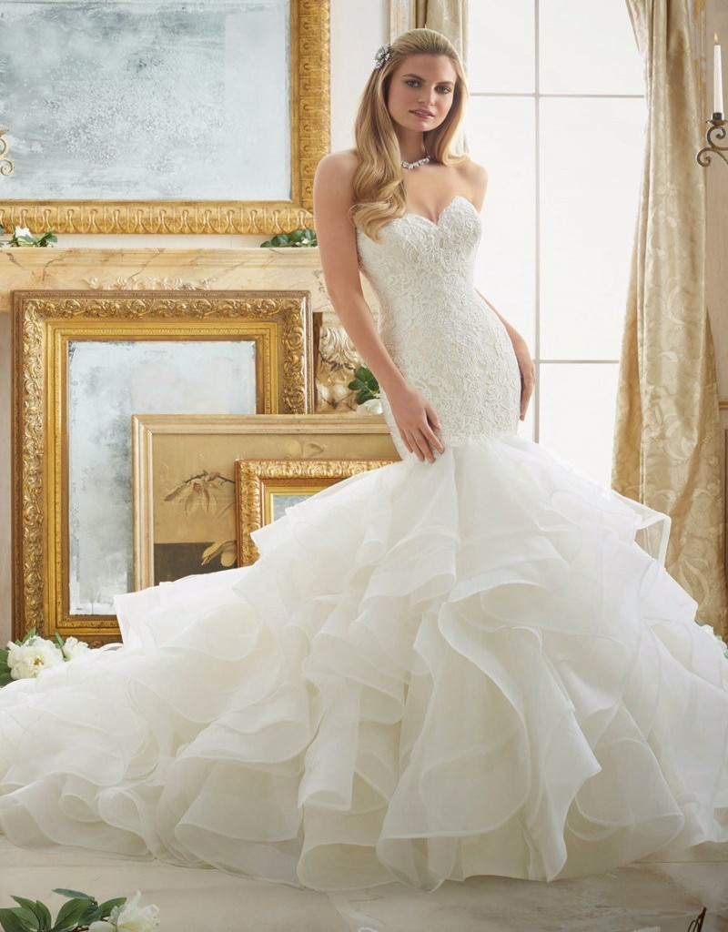 Buy ruffles skirt wedding dresses long for Plus size wedding dress store