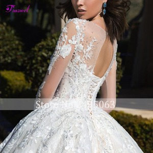 Image 3 - Glamorous Long Sleeve Appliques Chapel Train Ball Gown Wedding Dress 2020 Luxury Beading Scoop Neck Lace Up Princess Bridal Gown