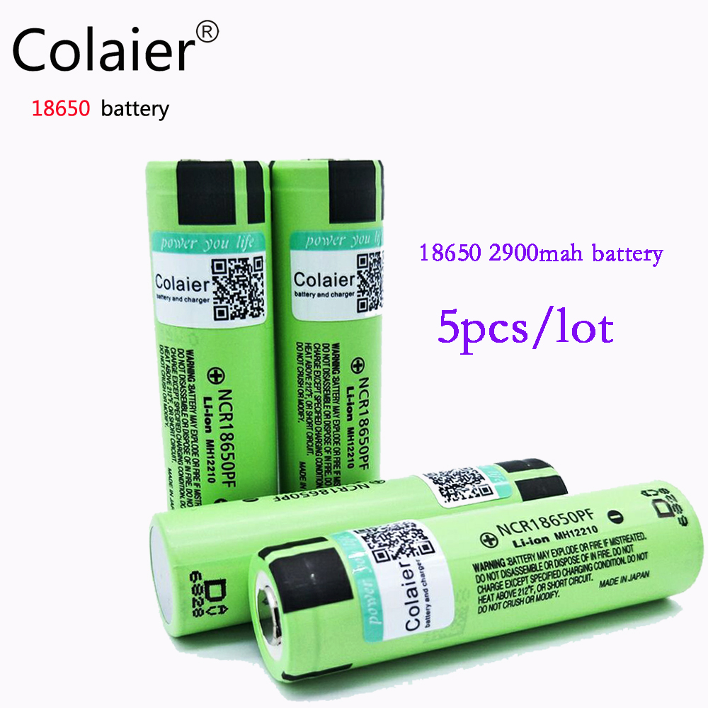Colaier 5pcs For panasonic 18650 2900mAh battery NCR18650PF Li lon Rechargeable battery 3 7v for flashlight
