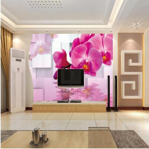 Water Purple Phalaenopsis Art Wall Covering for Living Room Mural TV ...