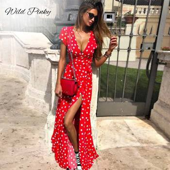 WildPinky Boho Polka Dot Long Dresses Women Split Short Sleeve Summer Casual Dress 2020 Streetwear Black Maxi Dress Vestidos isiksus striped maxi dress shirt women vintage female long sleeve summer casual dresses black beach dress for women dr092