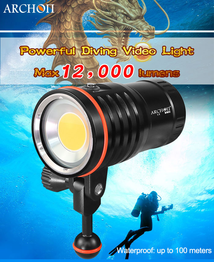 ARCHON WM66 DM60 Underwater Video Light 12000 Lumens LED Photography Torch 120W COB Lantern With Battery Pack And Chargerer