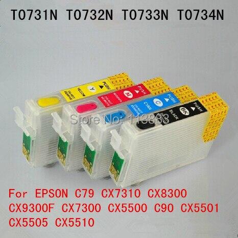 T0731 T0734 Refillable ink cartridge for EPSON C79 CX7310 CX8300 CX7300 CX9300F CX5500 C90 CX5501 CX5505