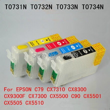 T0731-T0734 Многоразового картридж для EPSON C79 CX7310 CX8300 CX7300 CX9300F CX5500 C90 CX5501 CX5505 CX5510 чип Автоматического сброса