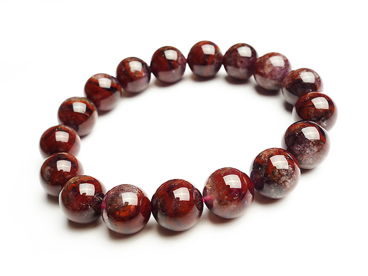 Newly Natural Auralite 23 Canada Round Beads Bracelet Crystal Red Purple Women Men 12mm Stone Rarest Bracelet Jewelry AAAAA in Bracelets Bangles from Jewelry Accessories