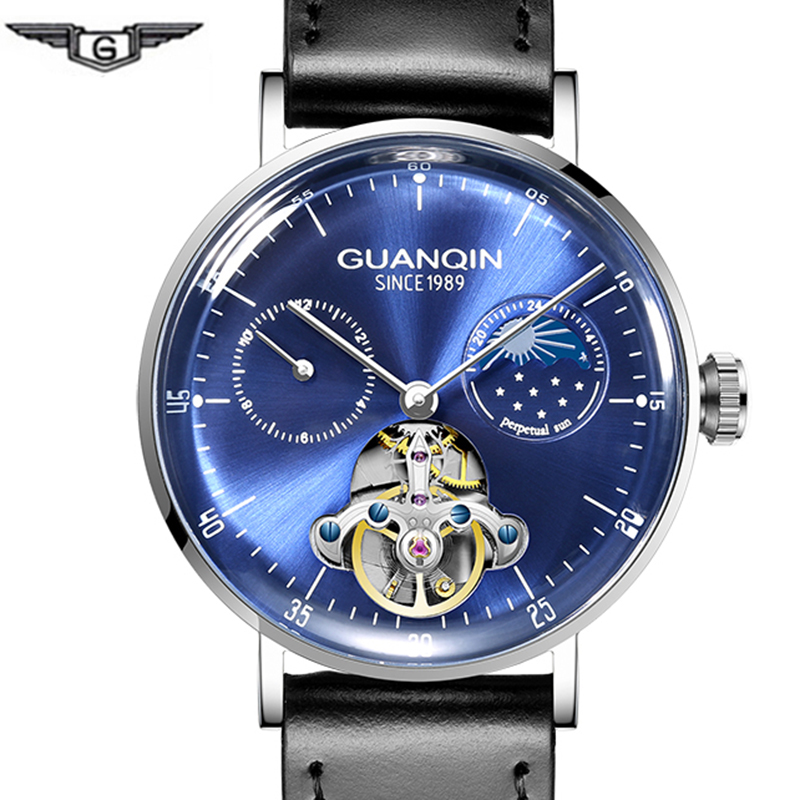 High end Tourbillon Mechanical Watch GUANQIN Fashion Automatic Watch Men 3D Curve Mirror Moon phase Sapphire Leather Strap ClockHigh end Tourbillon Mechanical Watch GUANQIN Fashion Automatic Watch Men 3D Curve Mirror Moon phase Sapphire Leather Strap Clock