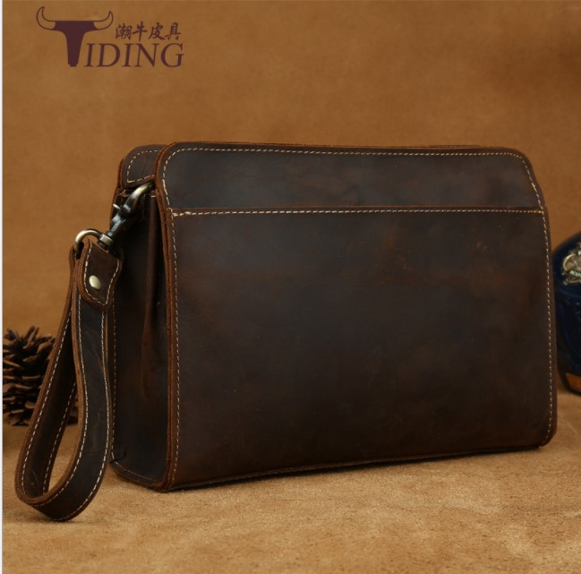 man vintage day clutches handbags genuine leather 2018 men business dress brown fashion casual big travel day clutch bags