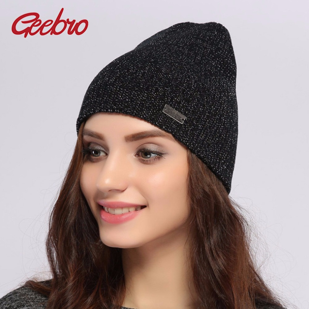 Geebro Brand Winter Women's Beanie Hats Casual Black Knitted Acrylic Slouchy Skullies Beanies for Women Female Balaclava Hat