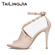 Peep Toe High Heel Woman Sandals Women Shoes Pink Ladies Sexy Fashion Buckle Rivets Romantic Female Brand High Quality Shoes Hot цены